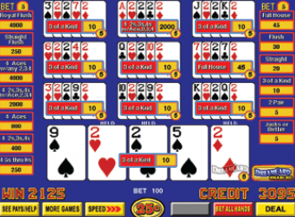 Triple Play Five Play Ten Play Draw Poker with Dream Card screenshot